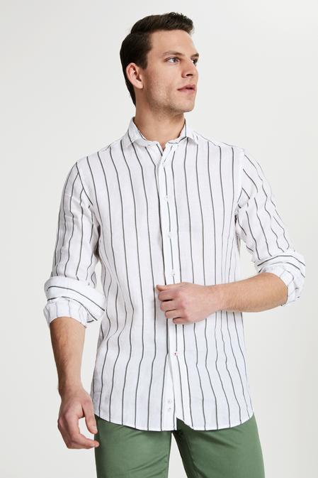 Damat Slim Fit Beyaz Çizgili Gömlek - 8681649994039 | Damat Tween