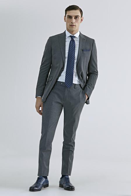 Tween Slim Fit Gri Düz Takım Elbise - 8682364808793   Damat Tween