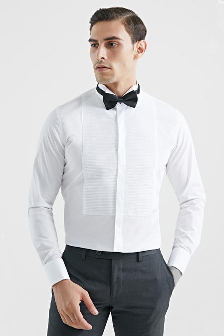 Tween Slim Fit Beyaz Düz Smokin Gömlek - 8682364020768 | Damat Tween