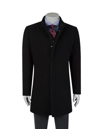 Tween Siyah Düz Palto - 8681649415640   Damat Tween