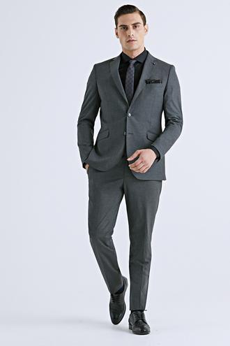Tween Slim Fit Antrasit Düz Takım Elbise - 8682364564866   Damat Tween