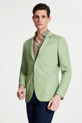 Tween Slim Fit Yeşil Desenli Kumaş Ceket - 8682364771097 | Damat Tween