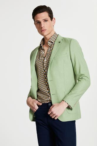 Tween Slim Fit Yeşil Desenli Kumaş Ceket - 8682364333646 | Damat Tween