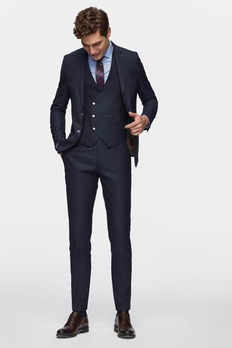 Tween Slim Fit Lacivert Yelekli Takım Elbise - 8681649444527 | Damat Tween