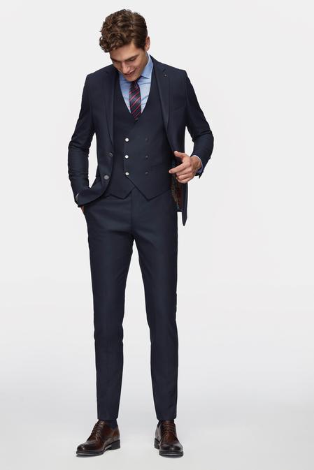Tween Slim Fit Lacivert Yelekli Takım Elbise - 8681649444527   Damat Tween