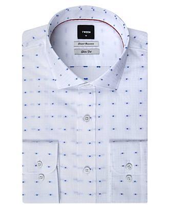 Tween Slim Fit Beyaz Desenli Gömlek - 8681142852164 | D'S Damat