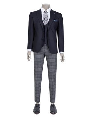 Tween Slim Fit Lacivert Düz Yelekli Takım Elbise - 8681649622840 | D'S Damat