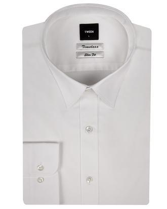 Tween Slim Fit Beyaz Düz Gömlek - 8681649385042 | Damat Tween