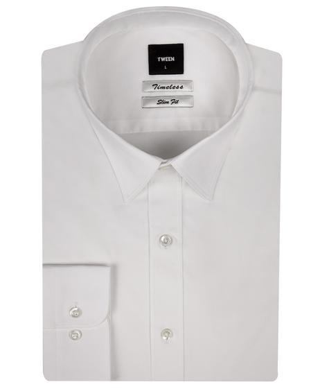 Tween Slim Fit Beyaz Düz Easy Care Gömlek - 8681649385042 | Damat Tween