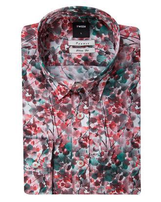 Tween Slim Fit Kırmızı Desenli Gömlek - 8681649468103 | Damat Tween