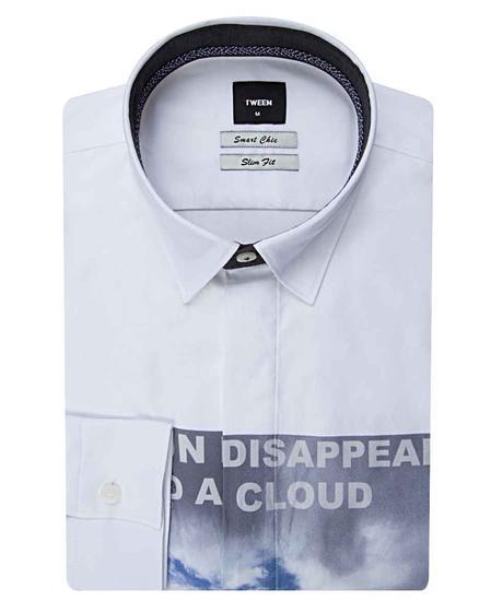 Tween Slim Fit Beyaz Düz Baskılı Gömlek - 8681142819389   Damat Tween