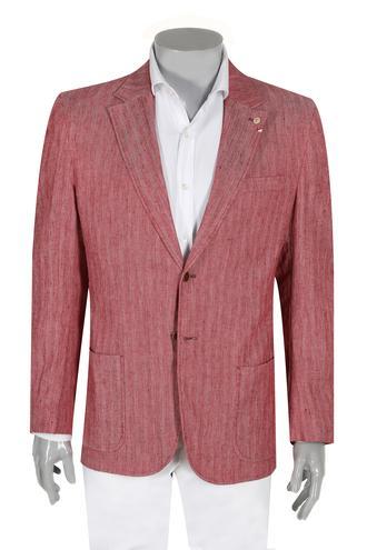 Damat Regular Fit Kırmızı Balıksırtı Kumaş Ceket - 8681649544197   D'S Damat