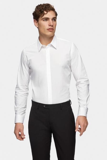 Tween Slim Fit Beyaz Düz Gömlek - 8681649808992 | Damat Tween