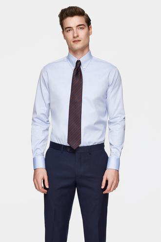 Damat Comfort Mavi Düz Gömlek - 8681649813569 | Damat Tween