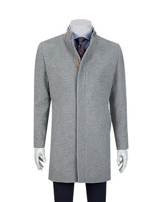 Tween Gri Düz Palto - 8681649334712 | Damat Tween
