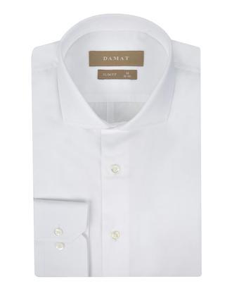 Damat Slim Fit Beyaz Düz Gömlek - 8681649176510 | Damat Tween