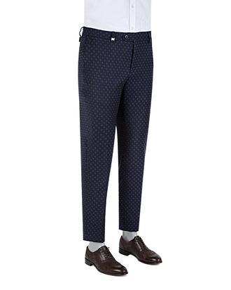 Tween Slim Fit Lacivert Desenli Kumaş Pantolon - 8681142932262 | D'S Damat