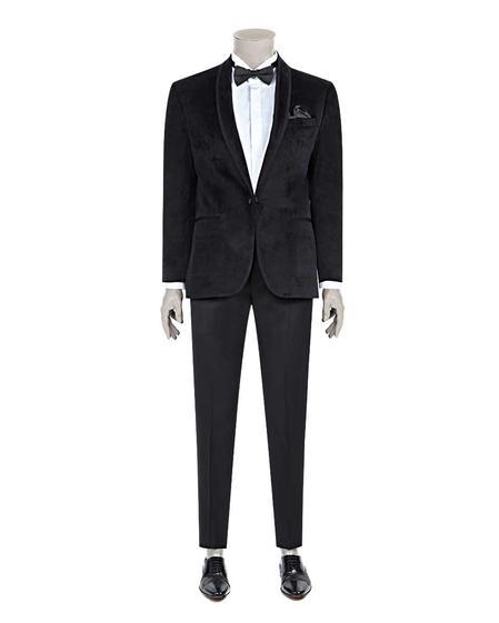 Damat Slim Fit Siyah Düz Yelekli Takım Elbise - 8681649738763 | Damat Tween