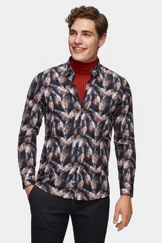 Tween Slim Fit Lacivert Baskılı Gömlek - 8681649891918 | Damat Tween