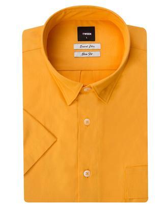 Tween Slim Fit Hardal Düz Gömlek - 8681649214519   Damat Tween