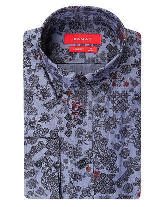 Damat Comfort İndigo Desenli Baskılı Gömlek - 8681649303503 | D'S Damat