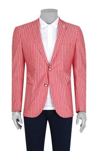 Tween Slim Fit Kırmızı Çizgili Kumaş Ceket - 8681649508267   D'S Damat