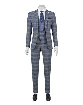 Tween Slim Fit Mavi Kareli Yelekli Takım Elbise - 8681649257943 | D'S Damat