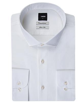 Tween Slim Fit Beyaz Düz Gömlek - 8681649385257 | Damat Tween