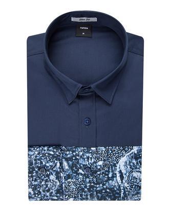 Tween Slim Fit Lacivert Desenli Baskılı Gömlek - 8681142783512   Damat Tween