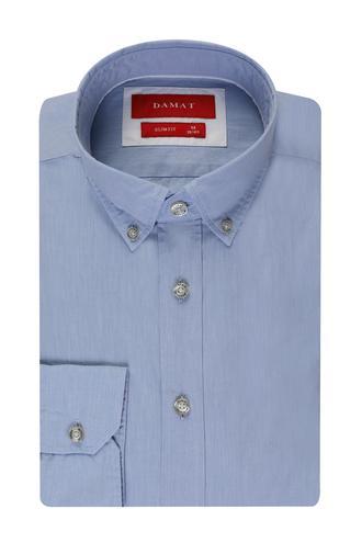 Damat Slim Fit Mavi Düz Gömlek - 8681649579540 | D'S Damat
