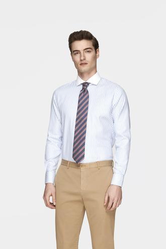 Damat Slim Fit Beyaz Çizgili Gömlek - 8681649822004 | Damat Tween