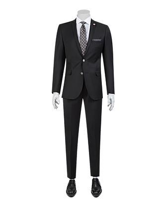 Tween Slim Fit Siyah Düz Takım Elbise - 8681649318156 | Damat Tween