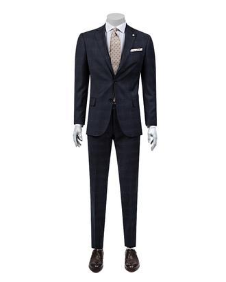 Damat Regular Fit Lacivert Desenli Takım Elbise - 8681142805634 | D'S Damat