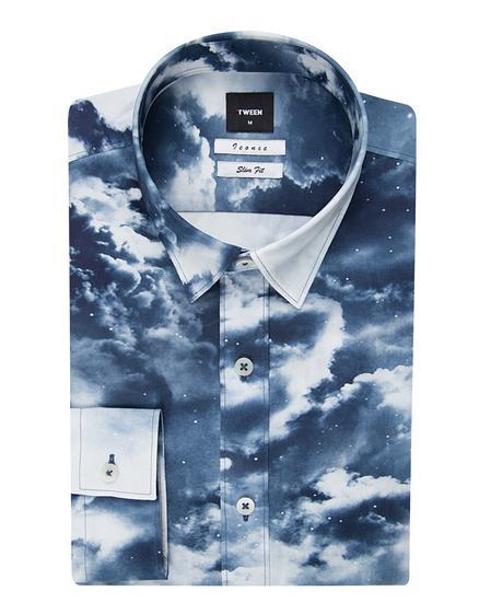 Tween Slim Fit Lacivert Desenli Baskılı Gömlek - 8681142818184   Damat Tween