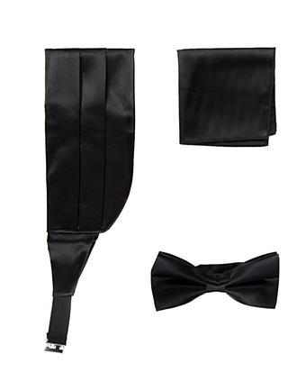 Damat Siyah Düz Kusak-papyon-mendil Set - 8681649401902 | Damat Tween