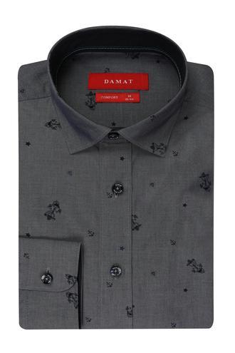 Damat Comfort İndigo Desenli Gömlek - 8681649163282 | D'S Damat