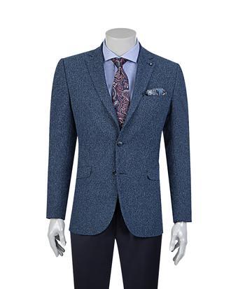Tween Slim Fit Mavi Desenli Kumaş Ceket - 8681649250333   D'S Damat