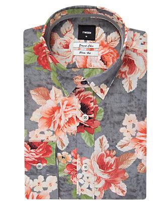 Tween Slim Fit Pembe Desenli Baskılı Gömlek - 8681649003847 | D'S Damat