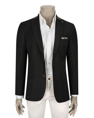 Tween Slim Fit Siyah Düz Kumaş Ceket - 8681649697107 | D'S Damat