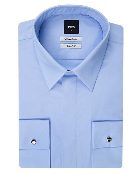 Tween Slim Fit Mavi Düz Easy Care Gömlek - 8681649382621 | Damat Tween