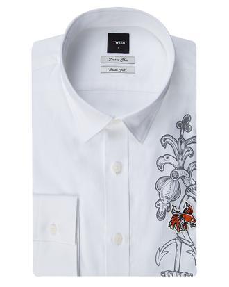 Tween Slim Fit Beyaz Düz Gömlek - 8681649439899 | Damat Tween