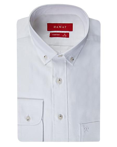 Damat Comfort Beyaz Düz Easy Care Gömlek - 8681649586920 | Damat Tween