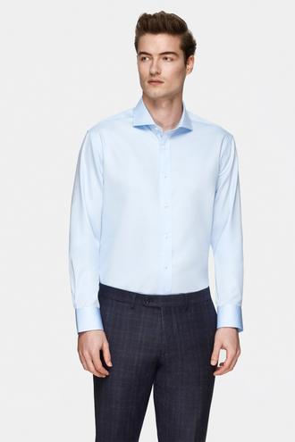 Damat Comfort Mavi Düz Nano Care Gömlek - 8681649976370 | Damat Tween