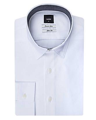 Tween Slim Fit Beyaz Düz Baskılı Gömlek - 8681142819440   Damat Tween