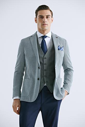 Tween Slim Fit Yeşil Desenli Kombinli Takım Elbise - 8682364501861 | Damat Tween