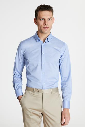 Damat Slim Fit Mavi Armürlü Gömlek - 8682364400324 | Damat Tween