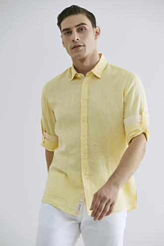 Tween Slim Fit Sarı Düz Gömlek - 8681649889748 | Damat Tween