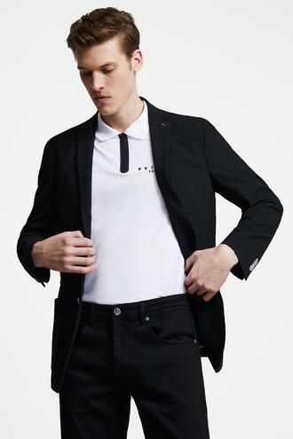 Tween Slim Fit Siyah Desenli Kumaş Ceket - 8695460260426 | Damat Tween