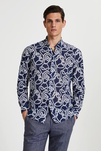 Tween Slim Fit Lacivert Desenli Vual Gömlek - 8682364493128 | Damat Tween