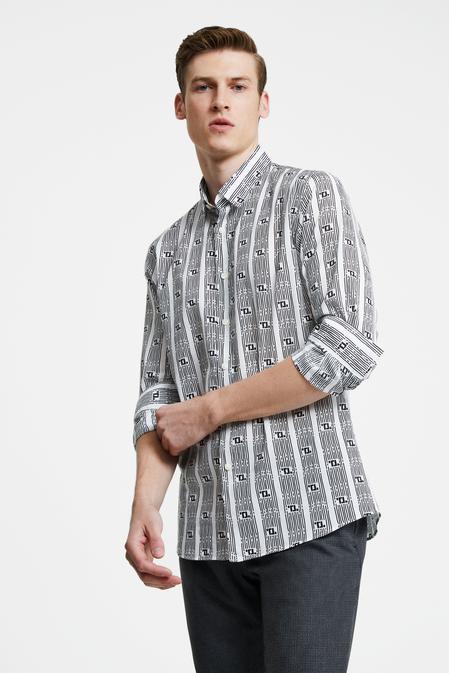 Tween Slim Fit Beyaz Baskılı Gömlek - 8681649869894 | Damat Tween